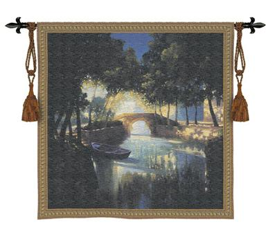 Blue Boat Landscape Wall Tapestry - Tracquil Night Scene, 53in X 53in