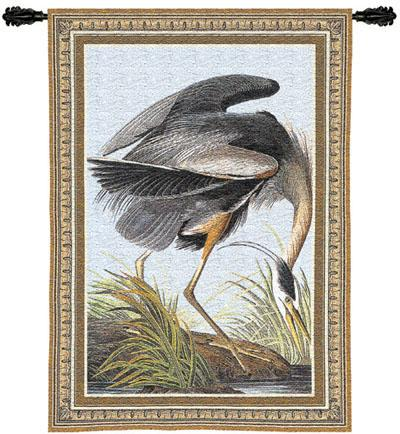 Blue Heron Bird Wall Tapestry, 27in X 36in