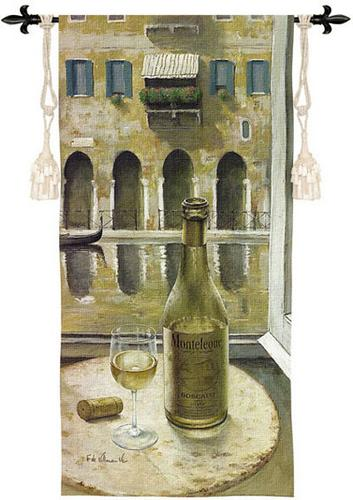 Bosciani Wine Still Life Wall Tapestry - Table By The Window, 25in X 53in