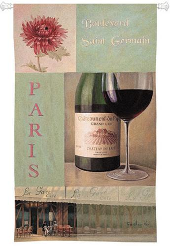 Boulevard Wine Still Life Wall Tapestry - Vintage Collage, 32in X 53in