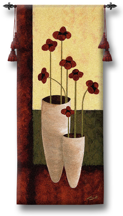 Bouquet De Sept Tapestry Wall Hanging - Floral Picture, 27in X 62in