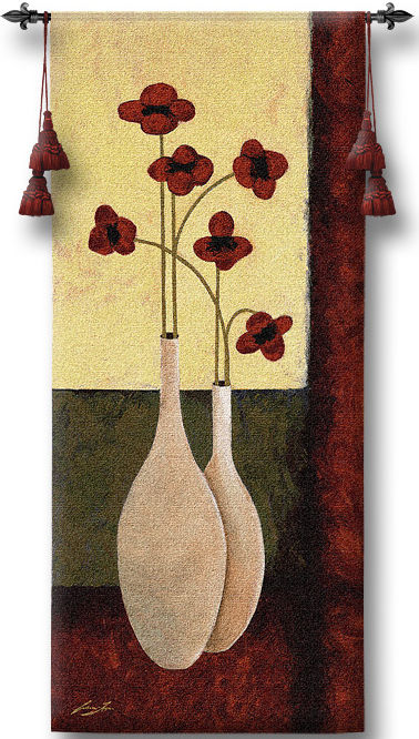 Bouquet De Six Tapestry Wall Hanging - Floral Picture, 27in X 62in