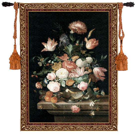 Bouquet Of Majesty Floral Tapestry - Flowers In Vase Picture, 43in X 53in