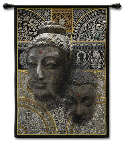 Buddhaessence Ethnic Tapestry Wall Hanging - Indian Inspired Collage, 37in X 53in