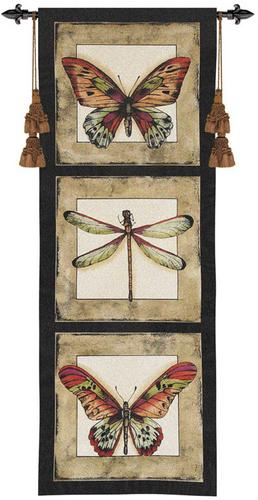 Butterfly Dragonfly I Modern Tapestry Wall Hanging - Botanical Design, 18in X 49in