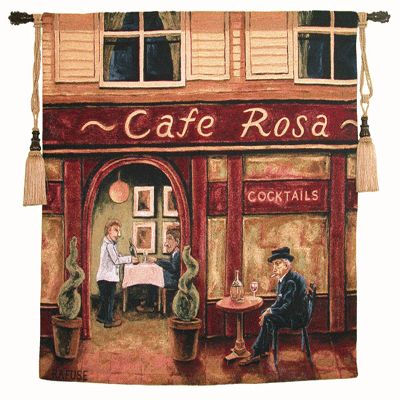 Cafe Rosa Tapestry Wall Hanging - Cafe Scene Picture, 53in X 53in