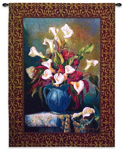 Callas With Cockscomb Still Life Wall Tapestry - Floral Bouquet, 40in X 53in