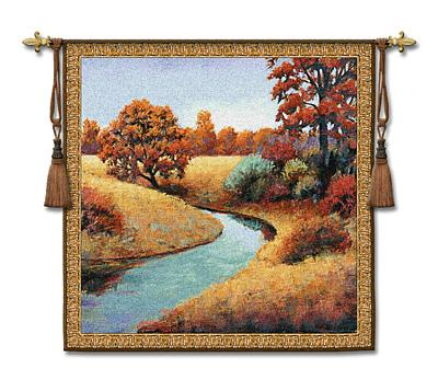 Calm Landscape Wall Tapestry - River In The Forest, 53in X 53in