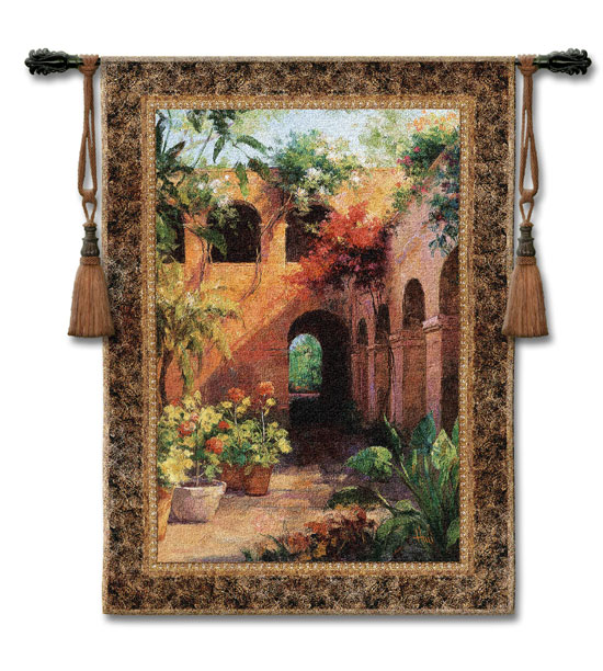 Camino Hermosa II Tapestry Wall Hanging - Courtyard View, 53in X 40in