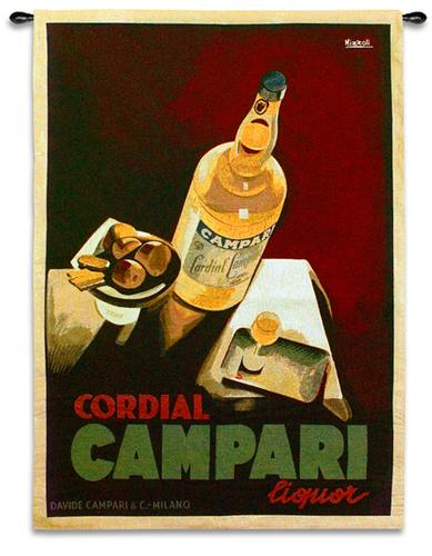 Campari Wine Still Life Wall Tapestry - Vintage Poster With Wine, 36in X 53in