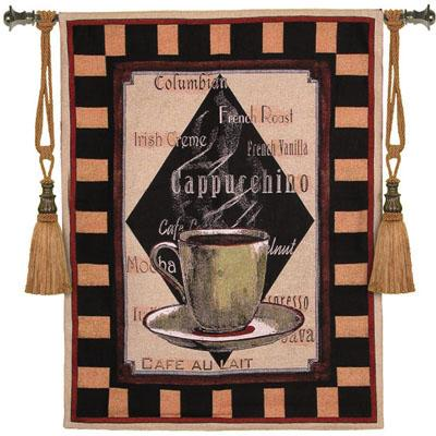 Cappuchino Time I Still Life Tapestry Wall Hanging, 35in X 45in