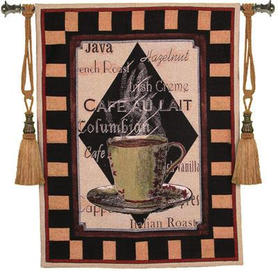 Cappuchino Time II Still Life Tapestry Wall Hanging, 35in X 45in