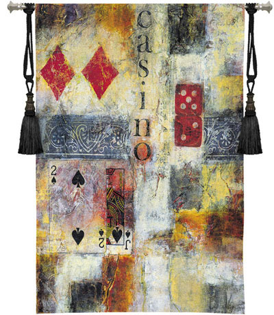 Casino Abstract Contemporary Tapestry Fine Art Picture, 36in X 53in