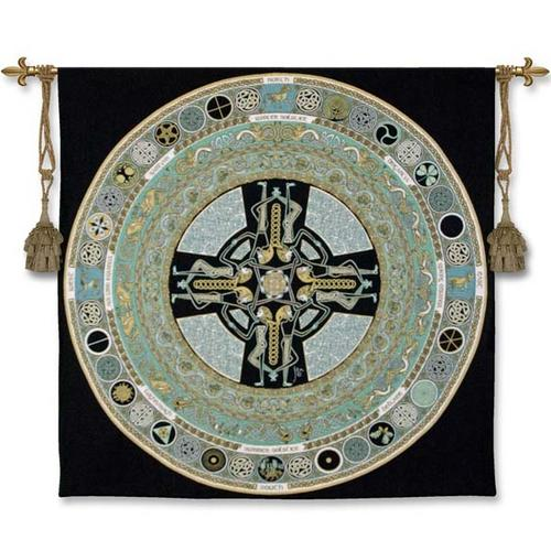 Celtic Mandala Ornamental Tapestry Wall Hanging - Medieval Styled, 52in X 51in