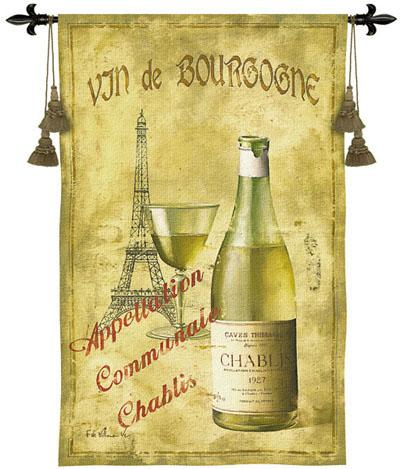 Chablis '27 Wine Still Life Tapestry Wall Hanging, 33in X 53in