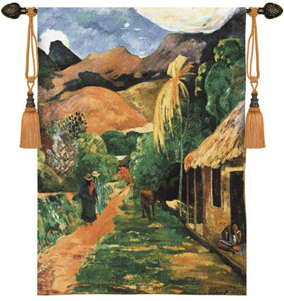 Chemin A Papeete Fine Art Wall Tapestry From Gauguin'S Painting, 42in X 53in