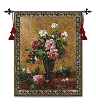 Cherished Bliss Still Life Wall Tapestry - Floral Bouquet, 40in X 53in