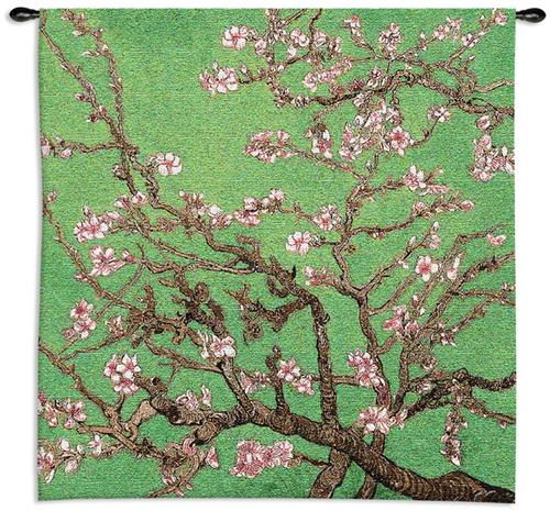Cherry Blossom Modern Tapestry Wall Hanging - Floral Design In Bright Colors, 35in X 35in