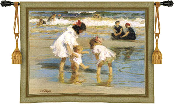 Children Playing At The Seashore Tapestry Wall Hanging - Beach Scene, 53in X 42in