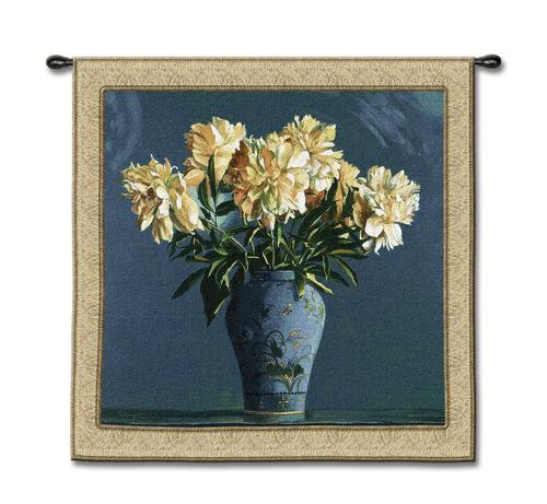 China Blue Still Life Wall Tapestry - Floral Bouquet, 53in X 53in
