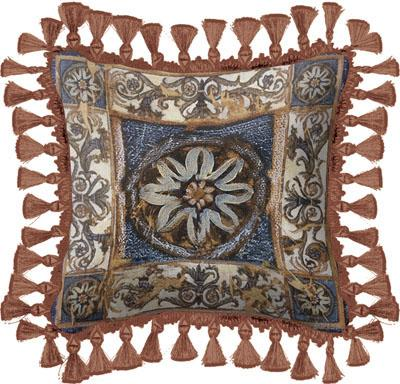 Clear Waters Classic Styled Tapestry Cushion - Floral Ornament, 17in x 17in