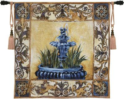 Clear Waters Garden Tapestry Wall Hanging - Fountain Picture, 53in X 53in
