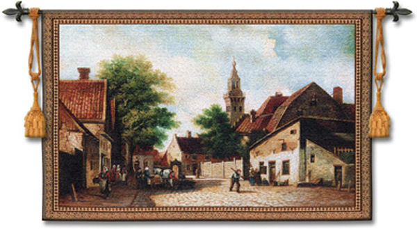 Cobblestone Way Tapestry Wall Hanging - Eropean Village, 53in X 40in