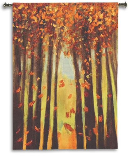 Colors Of Fall II Contemporary Tapestry Wall Hanging - Abstract Landscape, 40in X 53in