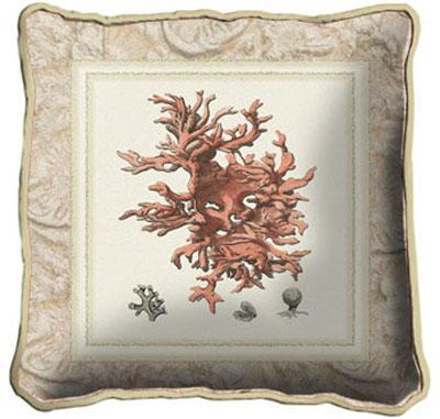 Coral II Modern Tapestry Cushion - Sea Picture, 17in x 17in