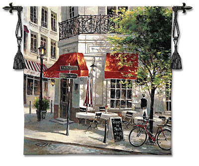 Corner Cafe I Tapestry Wall Hanging, 53in X 53in
