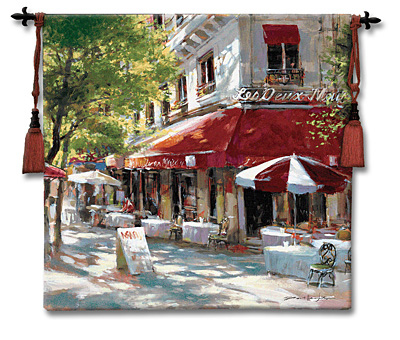 Corner Cafe II Tapestry Wall Hanging, 53in X 53in