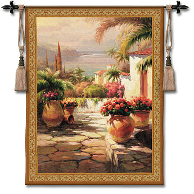Courtyard View I Tapestry Wall Hanging, 38in X 53in