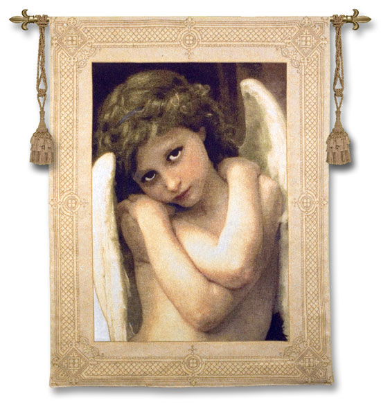 Cupidon Fine Art Wall Tapestry Reproduction Angel Picture, 40in X 53in