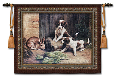 Curiousity Animal Tapestry Wall Hanging - Dogs & Rabbit Picture, 53in X 45in