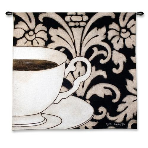 Damask Coffee Black Still Life Tapestry Wall Hanging, 45in X 43in