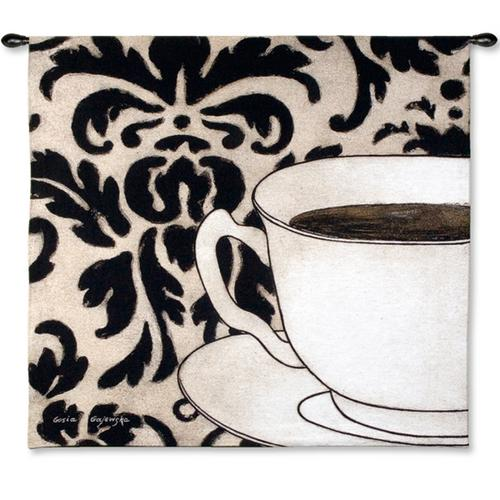 Damask Coffee White Still Life Tapestry Wall Hanging, 45in X 43in