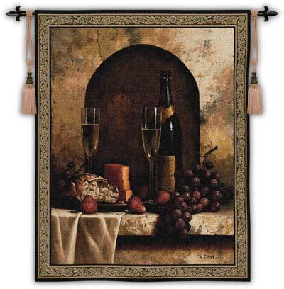 Date To Remember Wine Still Life Wall Tapestry, 53in X 59in