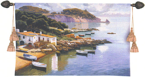 Daybreak On Coast Landscape Tapestry Wall Hanging, 53in X 34in