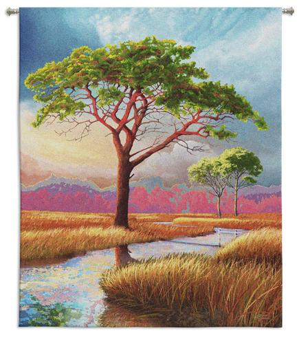 Daybreak On The Marsh Landscape Wall Tapestry - Modern Design In Bright Colors, 44in X 53in