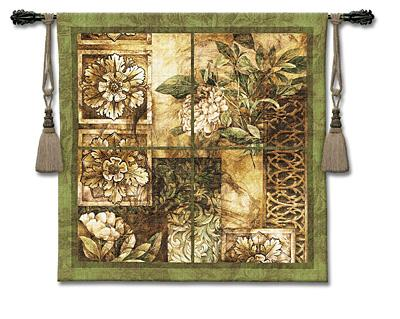 Decorative Textures Contemporary Tapestry Wall Hanging - Ornamental Design With Flowers, 53in X 53in