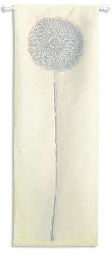 Double Opium Silver Contemporary Tapestry Wall Hanging - Abstract Botanical Design, 30in X 88in