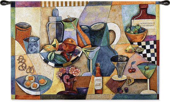 Drinks Fruit & Wine Tapestry Wall Hanging, 53in X 34in