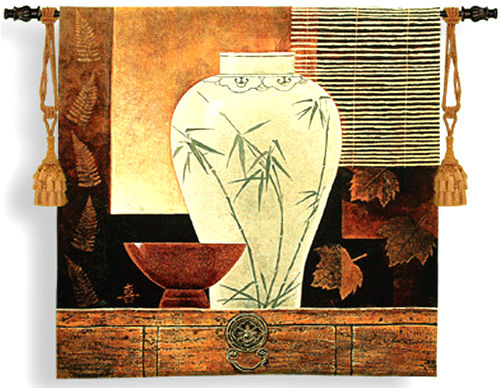 Dynasty I Still Life Tapestry Wall Hanging - Asian Motif, 44in X 42in