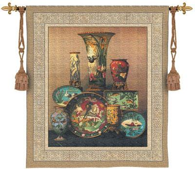 Elkington'S Cloisonne Still Life Wall Tapestry, 53in X 60in