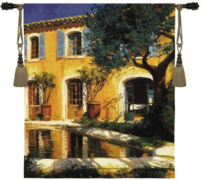 Estanque Cityscape Wall Tapestry - Town Scene, 46in X 53in