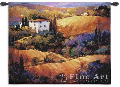 Evening Glow Tuscan Tapestry Wall Hanging - Landscape Picture, 53in X 53in