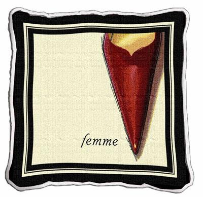 Femme Stiletto Modern Tapestry Cushion - Fashion Design, 17in x 17in