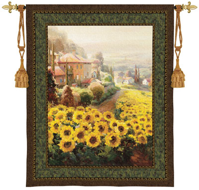 Fields Of Gold Landscape Tapestry Wall Hanging, 45in X 53in