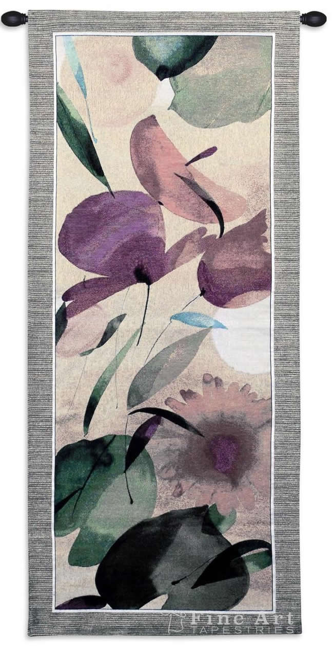 Fiesta Primavera II Contemporary Floral Tapestry Wall Hanging - Botanical Design, 22in X 53in