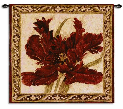 Fire Red Tulip Contemporary Tapestry Wall Hanging - Abstract Botanical Design, 27in X 30in